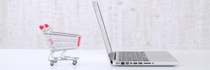 パソコンとショッピングカート