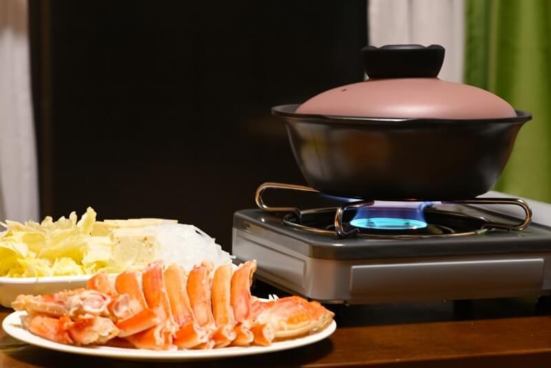 カニ鍋の準備