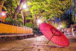 和傘と新緑のある風景
